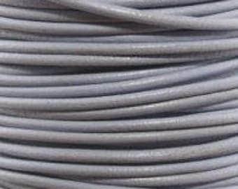 "2mm Round Horizon Gray Leather Lace Cord - 2mm 3/32"" Grey Diameter Craft Jewelry Bracelet Wrap Necklace - I ship Internationally"