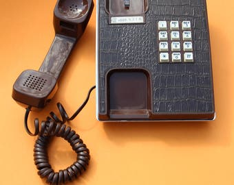 VINTAGE brown Western Electric push button TELEPHONE