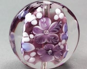 Shades of Purple, Lentil Shaped Glass Bead....Handmade by Highland Beads, Encased Floral Bead