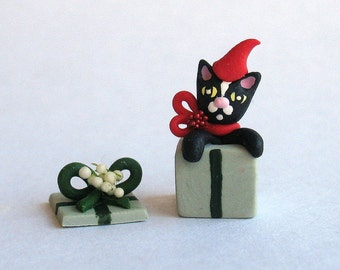 Miniature  Christmas Kitten Cat Purrfect Gift OOAK by C. Rohal