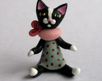 Miniature  Tuxedo Kitten Cat Doll by C. Rohal