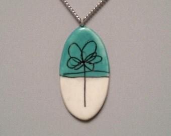 Scribble Flower Porcelain Jewelry Pendant Necklace, Ceramic Jewelry, Porcelain Jewelry, Colorful Necklace