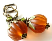 Lampwork Pumpkin Earrings, Jack O Lantern, Halloween, Autumn, Thanksgiving Jewelry, Antique Brass, Crystals, Beaded Earrings, Glass Pumpkins