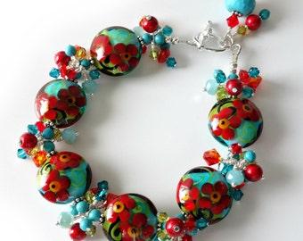Lampwork Bracelet, Flowers, Floral, Red, Orange, Turquoise Howlite, Green, Crystal Clusters, Beaded Jewelry, Beaded Bracelet, Red Poppies