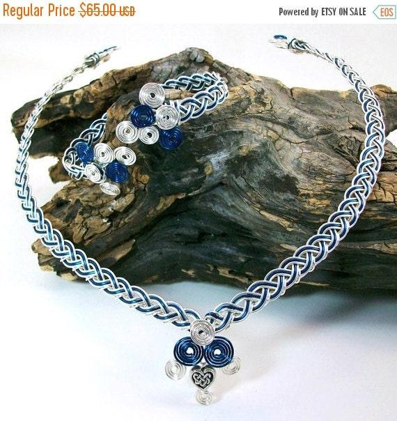 ON SALE Celtic Jewelry Set Boudica Bracelet and Collar Necklace