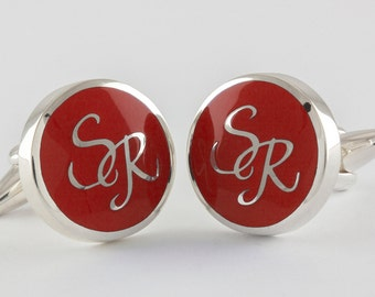 Round Monogram Cufflinks in Sterling Silver and red enamel, Sterling Silver, personalized