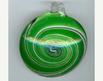 BLOWOUT SALE 50x55mm Green Swirl Oval Lampwork Pendant