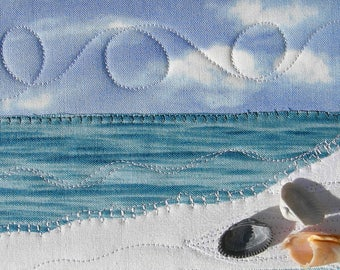 Beach Landscape - Fiber Art - Quilt Postcard - Art Quilt - Fabric Postcard - Landscape Art - Summer Vacation - Beach Shells - Small Quilt