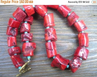 Chunky Red Coral and Arizona Tourquoise necklace OOAK SouthWestern tribal