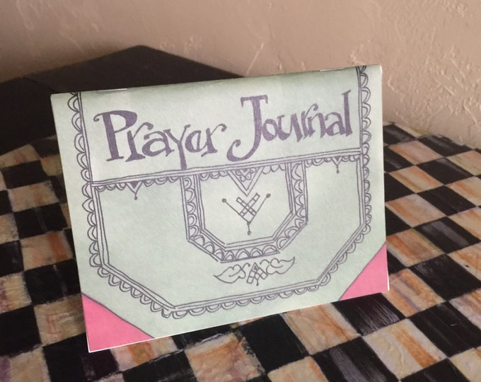 Prayer Journal & Free Bookmark -Cover Page James 5:16-10- Created by Cindy Grubb-Calligraphy, Devotional Gift, Inspirational item, Faith