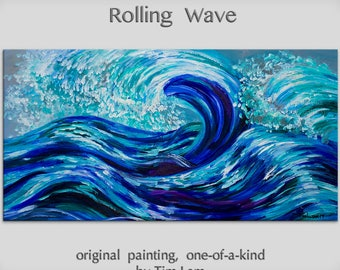 Rolling Wave large art---- Oil painting --- abstract sea art --- home hanging painting modern art - by tim Lam. Size: 48x24 (120 cm x 60 cm)