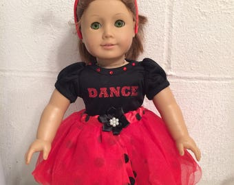 """American girl size 5 pc lady bug dancing for your 18"""" doll"""