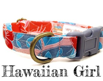 "Hawaiian Tropical Floral Pink & Red Hibiscus Floral Flowers Organic Dog Collar - Antique Brass Hardware - ""Hawaiian Girl"""