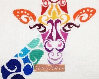 Tribal giraffe counted cross stitch kit