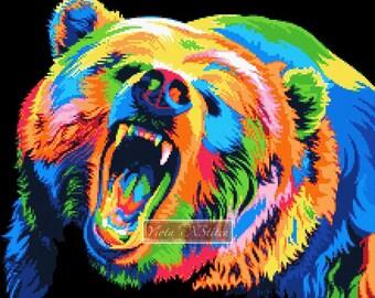 Modern cross stitch kit, Rainbow bear - abstract counted cross stitch kit, colourful