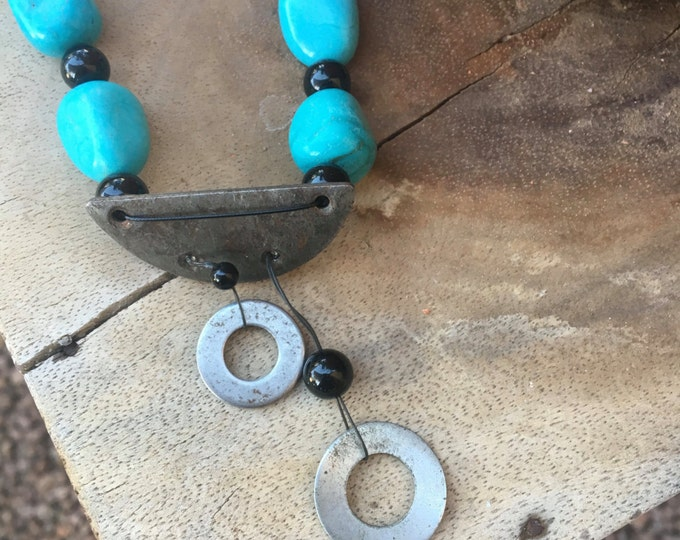 Turquoise Necklace * Black Onyx Necklace * Dangle Necklace * Boho Jewelry