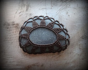 Home Decor, Crochet Lace Stone, Table Decoration, Nature, Handmade, Original, Dark Brown Thread, Monicaj