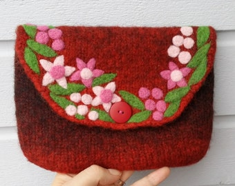 Felted bag pouch purse bag hand knit needle felted wine red burgundy wool needle felted flowers berries