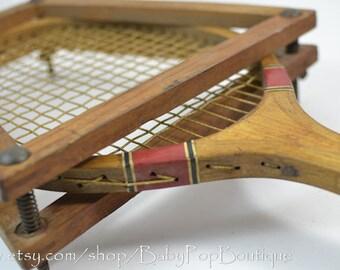 Vintage Wooden Tennis Racket with rack  home deco