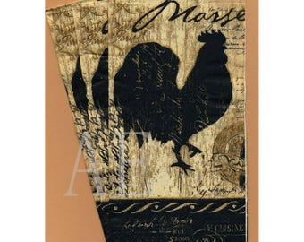 PN085 Paper Napkins by Cypress Home ~ 4.5 x 8 Elegant Farmhouse Rooster ~ Set of 3