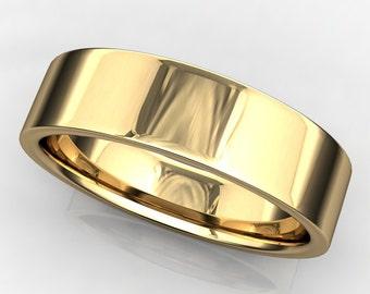 parker ring - men's 14k yellow gold wedding band, brushed satin finish