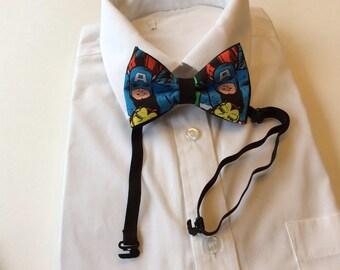 Captain America Pretied Adjustable Bow Tie, Marvel, Comics, Wedding,