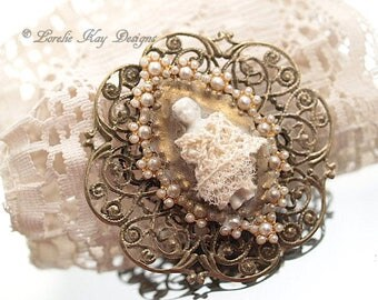 Shabby Frozen Charlotte Doll Brooch Romantic Cream Lace Jewelry Pin