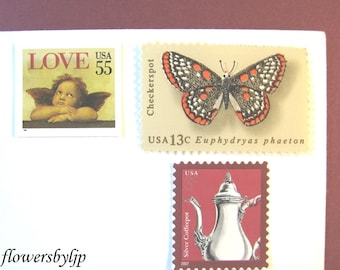 Vintage Love Postage Stamps, Cherub Butterfly Stamps, Mail 20 Wedding Invitations 2 oz, 70 cents unused postage, Rustic love angel stamps