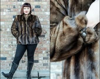 Fur Coat Real Fur Coat Sheared Beaver Coat Size Large Coat