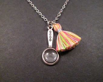 Magnifying Glass Pendant Necklace, Silver Magnifier and Cotton Tassel Charm Necklace, Extra Long Chain Necklace, FREE Shipping U.S.
