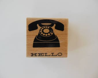 Telephone Rubber Stamp - Wood Mounted Rubber Stamp