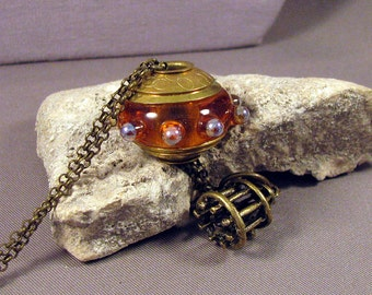 Handmade Lampwork Bead Necklace Size Large Hole Brass Lined and Double Capped Bead  - Amber - Handmade by Mona Sullivan Bohemian Boho