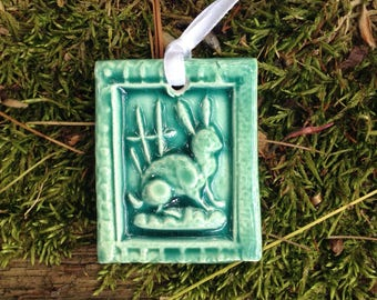 Teeny Tiny Tile of Bunny in Celadon