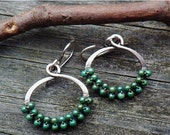 20% OFF Today Green Turquoise beaded sterling silver hoop dangle earrings