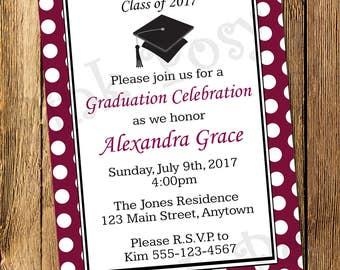 Printable Personalized Maroon Graduation Invitation