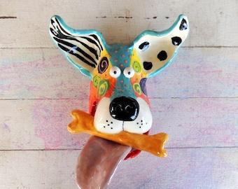 Large Dog Mask with Bone Ceramic Wall Hanging  Handmade by Dottie Dracos, Dog Mask, Ceramic Dog, Dog Face with Bone, Dog Mask,  519174