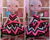 Tiny BJD Pink Chevron Babydoll Dress by Tickled Pink by Julie