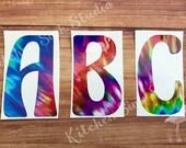Single Letter Initial Monogram Decal ~ groovy font ~ tiedye, retro 1980s, hippie letter, print, size choice! permanent sticker, tumbler, car