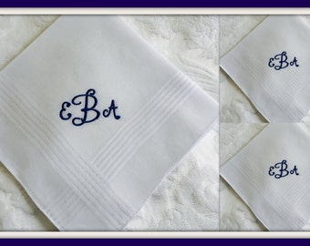 Set of Three PERSONALIZED EMBROIDERED  Mens  Handkerchiefs with Monogram