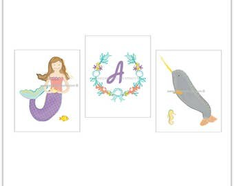 Girls Wall Decor, Mermaid Decor, Magical Mermaid and Narwhal Art, Personalized Saying Letter Art, Narwhal Whale Art, Mermaid Art Prints.