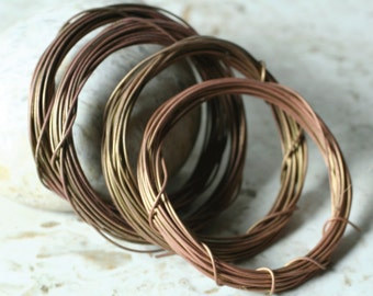 Hand antiqued solid brass wire 20g thick, 10 ft (item ID ABW20G)