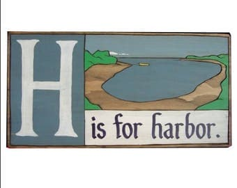 Nautical, Alphabet Primer - H is for Harbor