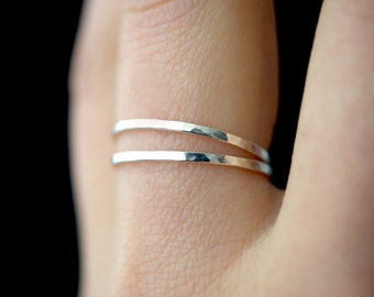 Set of 2 Medium Thickness Sterling Silver, stacking rings, thin silver rings, hammered sterling silver stack rings, sterling silver rings