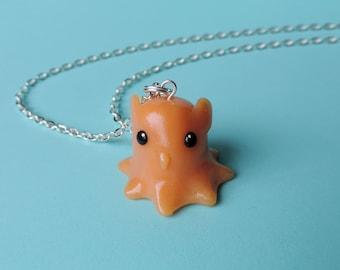 Orange Dumbo Octopus Charm Necklace