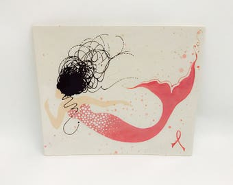 Platter. Breast Cancer Awareness. Mermaid. Plate. Pink. Ribbon. Sushi. Serving. Dinner. Handmade by Sara Hunter Designs
