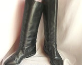 Vintage BANDOLINO Slouch Knee Boots / size 6 m  B Eu 36 .5 UK 3 .5 / Black Leather FLAT Heel / 80s Equestrian Cuff made Argentina