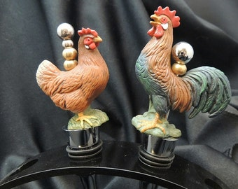 Rhode Island Red Hen and Rooster set 2 Beaded  Wine Stoppers gift bar ware Country Kitchen decor