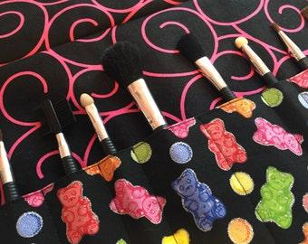 Makeup brush roll, makeup brush case, crochet hook case, pencil case, crochet hook roll, Gummy bears