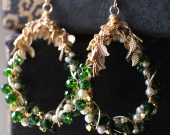 Large Chandelier Emerald Green and Gold Crystals, Pearl and Gold Wire Wrapped Teardrop Earrings,with Leaf Accent , 14k Gold Filled Ear Wires