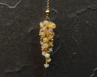Lariat necklace Ethiopian opal cluster